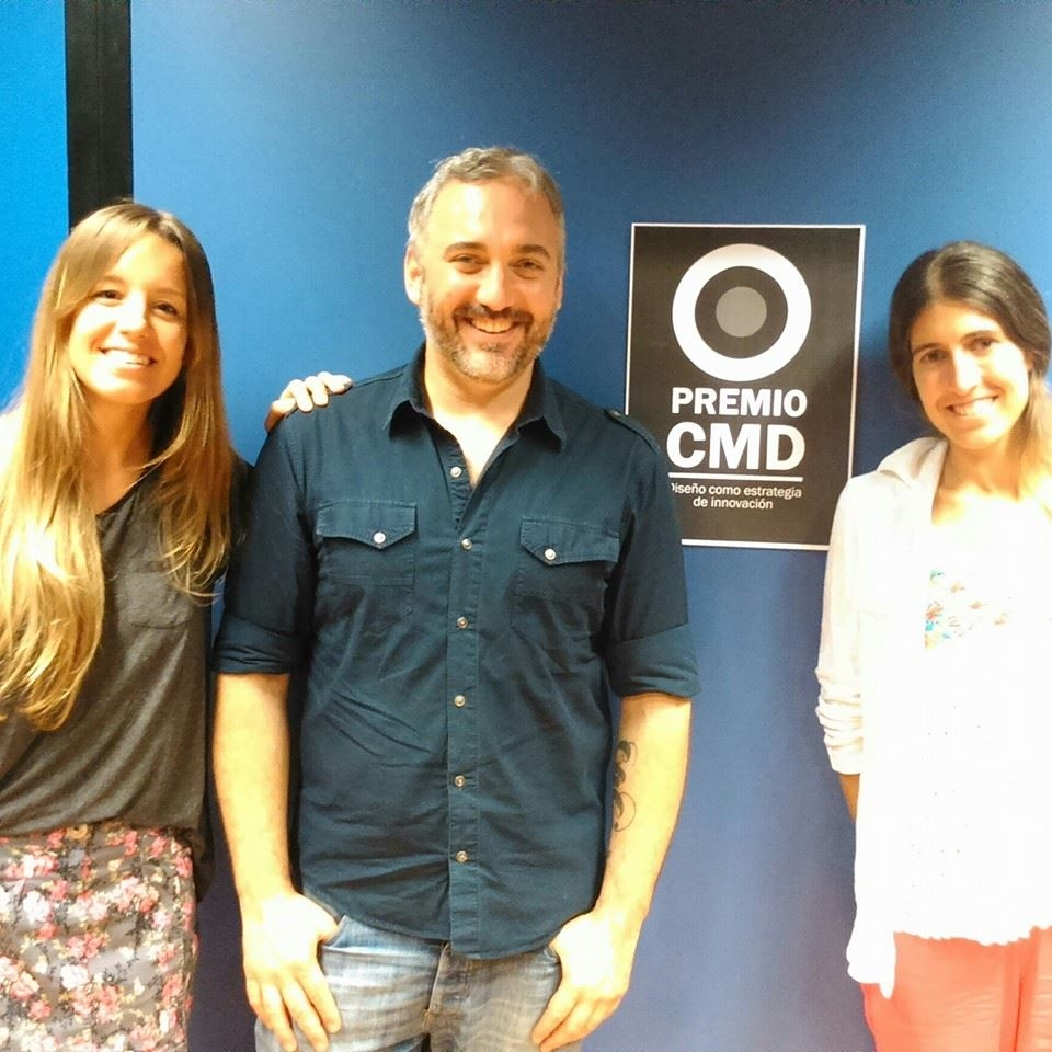 Martín Gorricho y las directoras de Quinto Zalla, en la presentación del Premio CMD - El diseño como innovación.