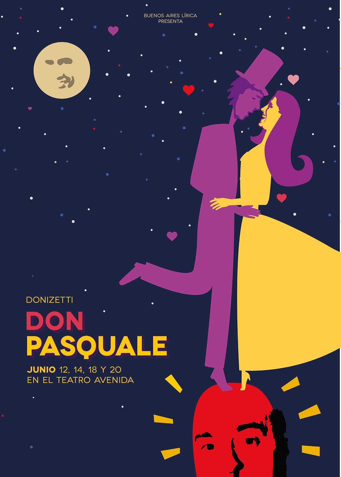 Diseño de afiche para ópera Don Pasquale - poster - BAL - productora de ópera. Diseño para redes sociales. Afiches.