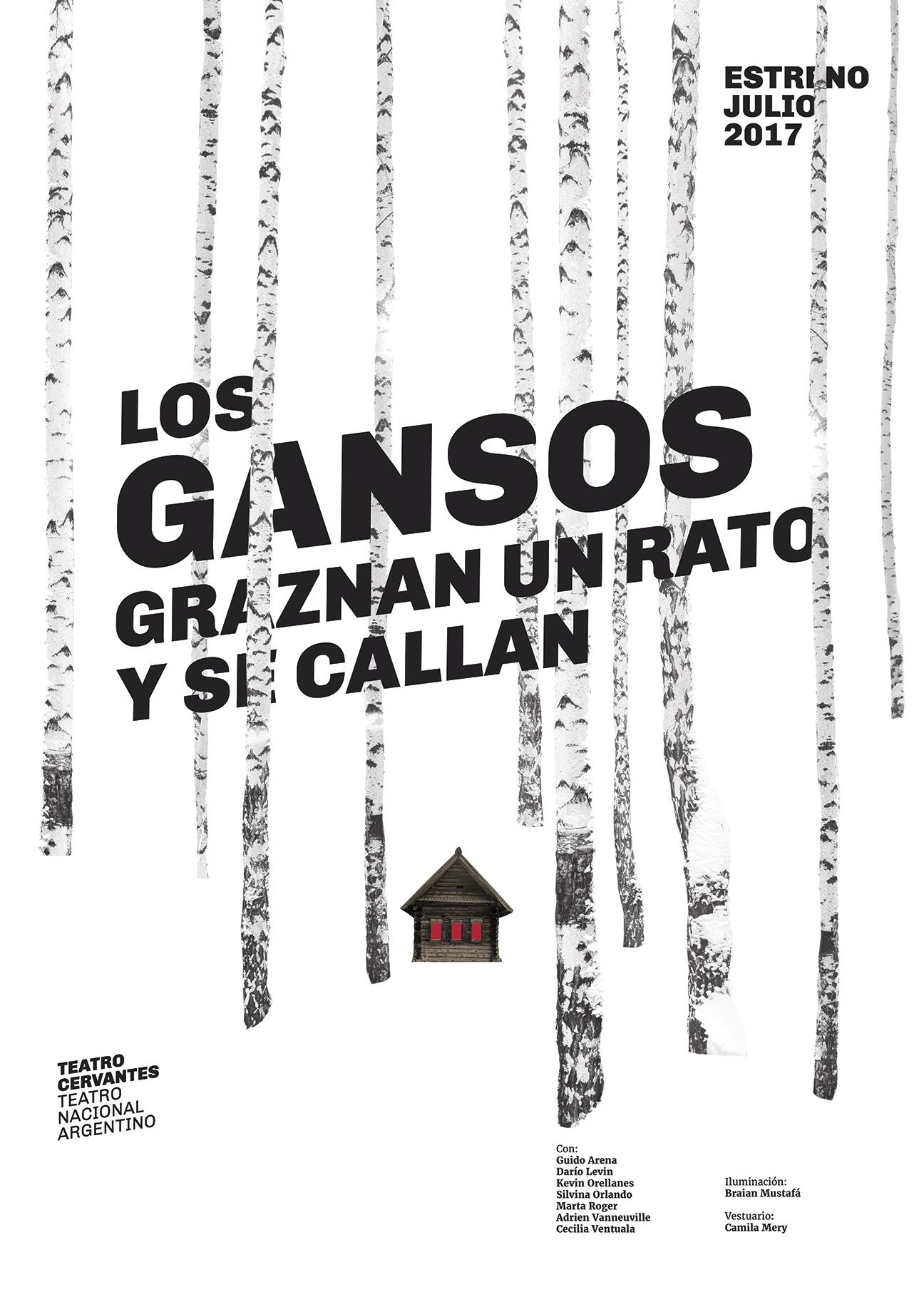 Diseño de afiches Teatro Cervantes - Teatro Nacional Argentino - Los gansos graznan
