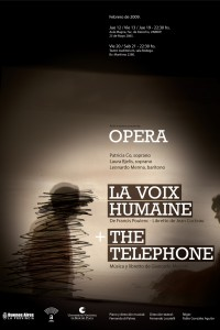 2009. Afiche para las óperas La voix humaine y The telephone. Teatro Provincial Auditorium. Mar del Plata.