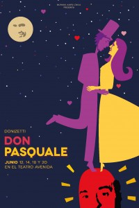 2015. Afiche para la ópera Don Pasquale. Producción de Buenos Aires Lírica. Teatro Avenida, Buenos Aires.