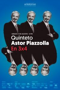 2019. Diseño de afiche para la gira En 3 x 4, del Quinto Astor Piazzolla.
