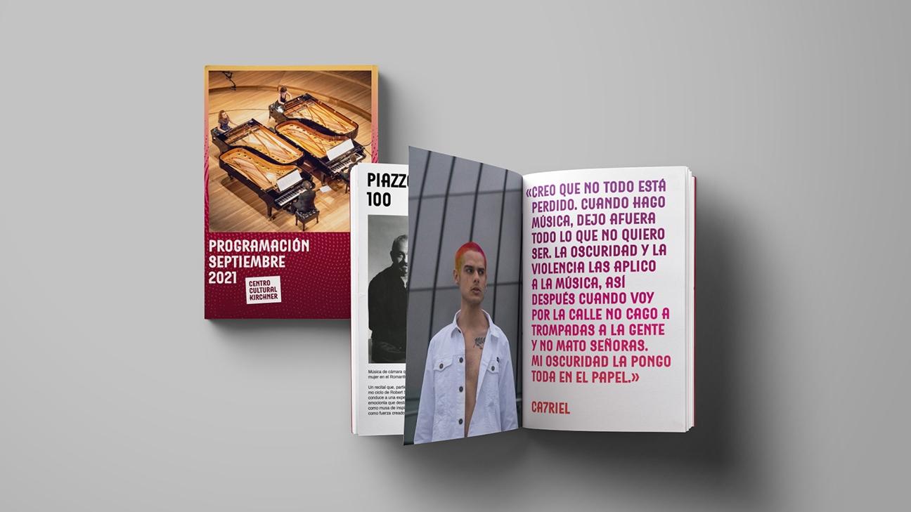 Diseño de identidad Centro Cultural Kirchner - maqueta programa